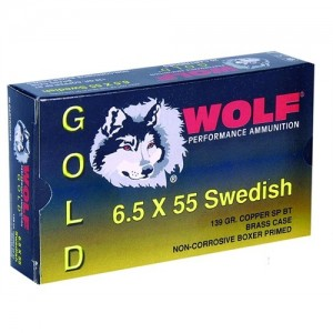 Wolf Performance Ammo Gold 6.5X55 Swede Jacketed Soft Point, 139 Grain (20 Rounds) - G65SSP1