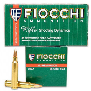 Fiocchi Ammunition Rifle Shooting Dynamics .223 Remington Full Metal Jacket, 55 Grain (50 Rounds) - 223A
