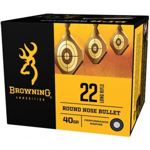 Browning BPR 22 Long Rifle Ammunition 40 Grain Black Plated Lead Round Nose Bullet Bulk Box of 400 Rounds B194122400