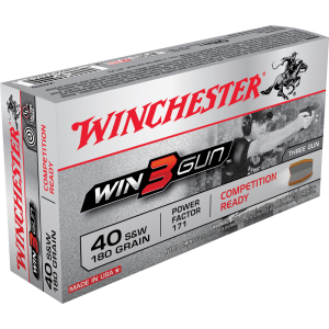 Winchester Win3Gun .40 S&W Full Metal Jacket, 180 Grain (50 Rounds) - X40TG