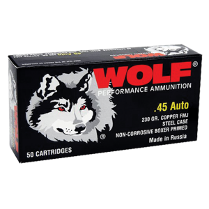 Wolf Performance Ammo .45 ACP Full Metal Jacket, 230 Grain (500 Rounds) - 45FMJCS