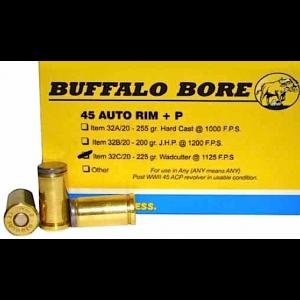 Buffalo Bore Ammunition .45 Automatic Rimfire Wadcutter, 225 Grain (20 Rounds) - 32C/20