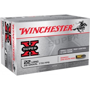 Winchester Super-X .22 Long Rifle Lead Round Nose, 29 Grain (50 Rounds) - X22LRCBMA