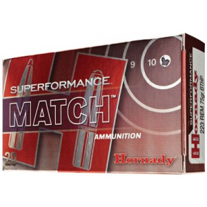Hornady Superformance Match .223 Remington/5.56 NATO Boat Tail Hollow Point Match, 75 Grain (20 Rounds) - 80264