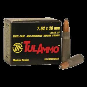 TulAmmo 7.62X39 Soft Point, 124 Grain (20 Rounds) - UL076206