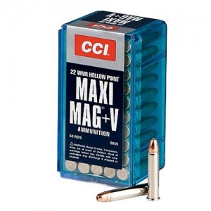 CCI 22 Winchester Magnum Rimfire 30 Grain Jacketed Hollow Point + V, 50 Round Box, 0059