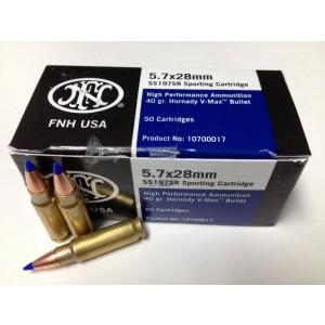 FN Herstal 5.7X28 Hornady V-Max (Blue Tip), 40 Grain (50 Rounds) - SS197SR