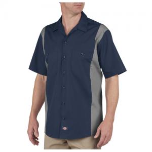 Dickies Two-Tone Industrial Shirt Men's Uniform Shirt in Dark Navy/Smoke - Large