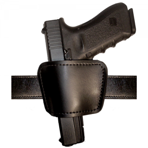 Clip on belt or pants to wear inside or outside of pants, or slide belt through belt slots. Spring steel clip is removable. Genuine leather. Suede lining helps protect gun finish. Fits belts up to 1-3/4 in. - B892-2