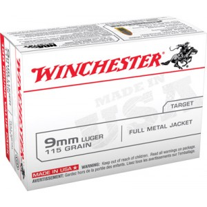 Winchester 9mm Full Metal Jacket, 115 Grain (100 Rounds) - USA9MMVP