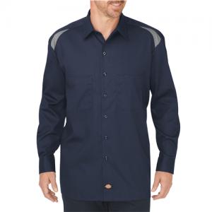 Dickies Performance Men's Long Sleeve Uniform Shirt in Dark Navy/Smoke - 3X-Large