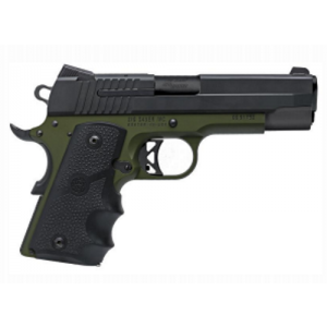 "Sig Sauer 1911 Compact C3 .45 ACP 7+1 4.2"" 1911 in Army Green (Hogue Rubber Finger Groove Grip) - 1911CO45AGFC3"