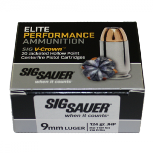 Sig Sauer 9mm Jacketed Hollow Point, 124 Grain (20 Rounds) - E9MMA2