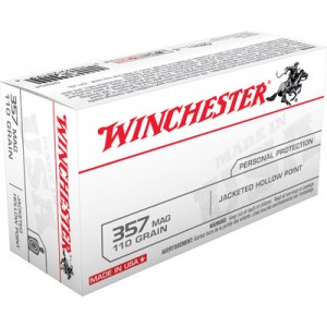 Winchester .357 Remington Magnum Jacketed Hollow Point, 110 Grain (50 Rounds) - Q4204