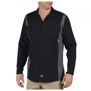 Dickies Industrial Men's Long Sleeve Uniform Shirt in Black/Charcoal - Large