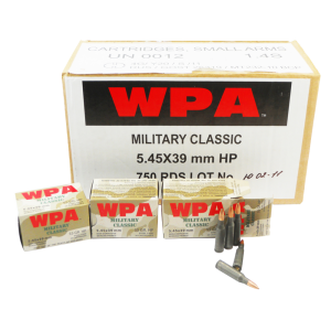 Wolf Performance Ammo Military Classic 5.45X39 Boat Tail Hollow Point, 55 Grain (750 Rounds) - MC545BHP