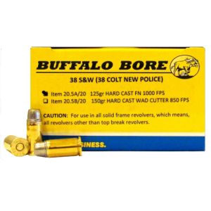 Buffalo Bore Ammunition .38 S&W Hard Cast Flat Nose, 125 Grain (20 Rounds) - 20.5A/20