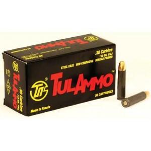 TulAmmo .30 Carbine Full Metal Jacket, 110 Grain (50 Rounds) - TA301100