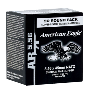 Federal Cartridge American Eagle .223 Remington/5.56 NATO Full Metal Jacket, 62 Grain (90 Rounds) - XM855AF90