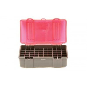 Plano Ammunition Box, Holds 50 Rounds Of .41 Mag/.44 Mag/.45 Lc Handgun Rounds, Charcoal/rose , 6 Pack 1226-50