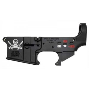 Spike's Tactical Stls016 Calico Jack, Stripped Lower, Semi-automatic, 223 Rem/556nato, Black Finish, Non-color, Withcalico Jack Flag Stls016