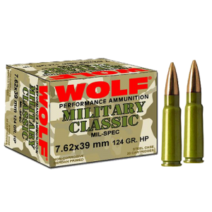 Wolf Performance Ammo Military Classic 7.62X39 Soft Point, 124 Grain (1000 Rounds) - MC762BSP