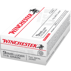 Winchester Ammunition 9mm Full Metal Jacket, 115 Grain (50 Rounds) - Q4172B