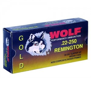 Wolf Performance Ammo Gold .22-250 Remington Jacketed Soft Point, 55 Grain (20 Rounds) - G22250SP1