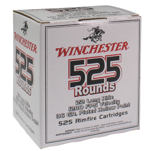 Winchester 555 .22 Long Rifle Copper Plated Hollow Point, 36 Grain (5250 Rounds) - 22LR525HP