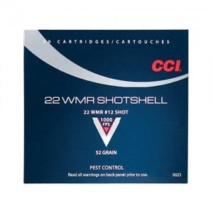 CCI 22 Winchester Magnum Rimfire 52 Grain #12 Shot, 20 Round Box, 0025