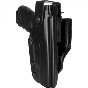 Triple Retention Duty Holster  Grab-resistant with smooth, natural draw. Features rotating hood, anti-blade device, and belt locking screws. Kydex and stainless steel construction. Mid-ride. Fits belts to 2-1/4 in. A Quantum leap in holster technologyBlac