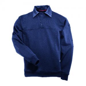 5.11 Tactical Job Shirt with Denim Details Men's 1/4 Zip Jacket in Fire Navy - Large