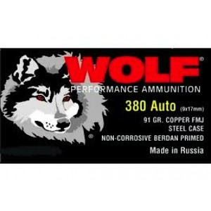 Wolf Performance Ammo .380 ACP Full Metal Jacket, 91 Grain (1000 Rounds) - FB917FMJ