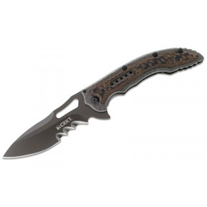"Columbia River Fossil Manual Folding Knife, 3.96"" Drop-point 8Cr12Mov/Black Edp Veff Serrations Blade (2Cr13 Stainless with G10 Overlay Handle) - 5471K"