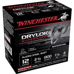 "Winchester Drylock Waterfowl .12 Gauge (2.75"") 2 Shot Steel (250-Rounds) - XSM122"