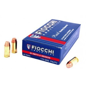 Fiocchi Ammunition .40 S&W Truncated Cone Full Metal Jacket, 170 Grain (50 Rounds) - 40SWA