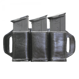 Magazine Holder Fits 3 Stagger  Magazine Holder Fits 3 Staggered Stack .45 cal or FN 5.7 (Fits a 1 3/4  Belt)  Style: Open Top Finish: BW