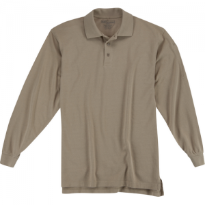 5.11 Tactical Utility Men's Long Sleeve Polo in Silver Tan - Small