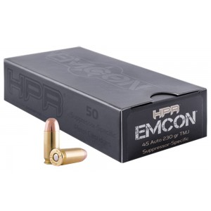 HPR Ammunition EMCON .45 ACP Total Metal Jacket, 230 Grain (50 Rounds) - 45230TMJEMC