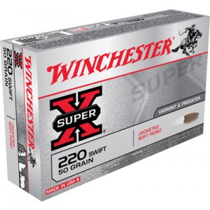 Winchester Super-X .220 Swift Pointed Soft Point, 50 Grain (20 Rounds) - X220S