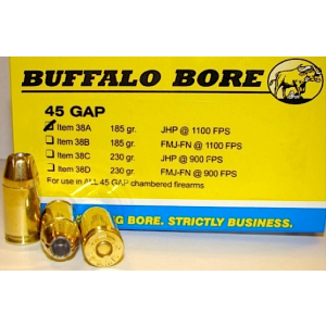 Buffalo Bore Ammunition .45 Glock Jacketed Hollow Point, 185 Grain (20 Rounds) - 38A/20
