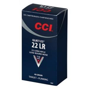 CCI Speer Quiet-22 .22 Long Rifle Lead Round Nose, 40 Grain (50 Rounds) - 960