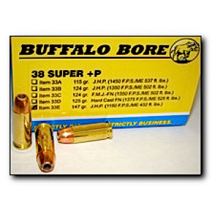 Buffalo Bore Ammunition .38 Super Jacketed Hollow Point, 147 Grain (20 Rounds) - 33E/20
