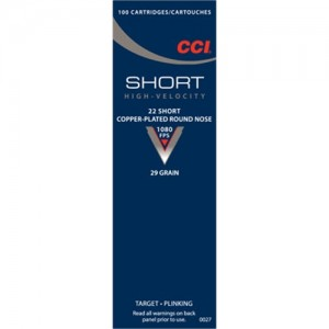 CCI 22 Short 29 Grain Round Nose, 100 Round Box, 0027