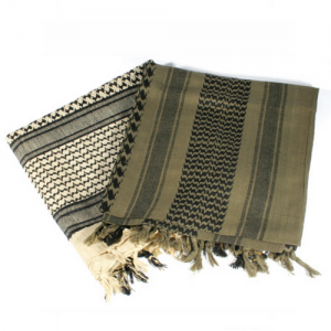 Tactical Shemagh, Sand/Black, Traditional desert headwear designed to protect the head and neck from sun and sand, Currently in use with US and Coalition forces in Iraq and Afghanistan, 100% cotton
