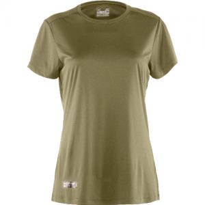 Under Armour HeatGear Women's Long Sleeve Compression Tee in Marine OD Green/Black Logo - Large