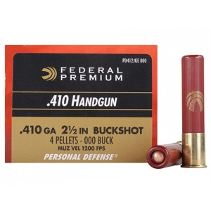 "Federal Cartridge Premium Personal Defense .410 Gauge (2.5"") 000 Buck Shot Lead (20-Rounds) - PD412JGE000"