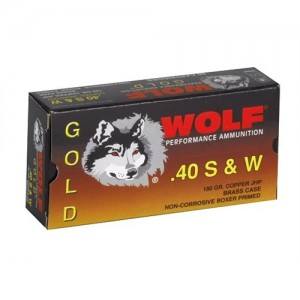 Wolf Performance Ammo Gold .40 S&W Semi Jacketed Hollow Point, 180 Grain (50 Rounds) - G40HP1