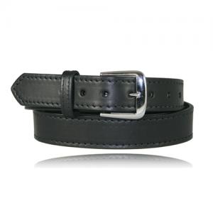 Boston Leather Dress Belt W/ Stitched Edge in Black Plain - 40