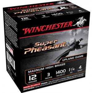 """Winchester Super Pheasant Plated HV .12 Gauge (3"""") 4 Shot Steel (25-Rounds) - X123PS4"""